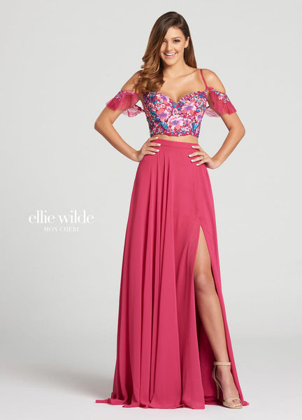 The fabric in this Ellie Wilde Two-Piece style is Chiffon & Embroidered Lace   Ellie Wilde by Mon Cheri