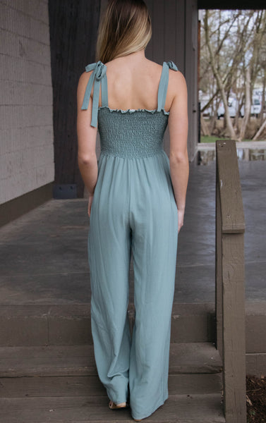Alyssa- Smocked Jumpsuit Moss