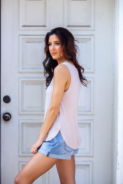 Easy Peasy-Vneck Tank with Curved Hem Tan
