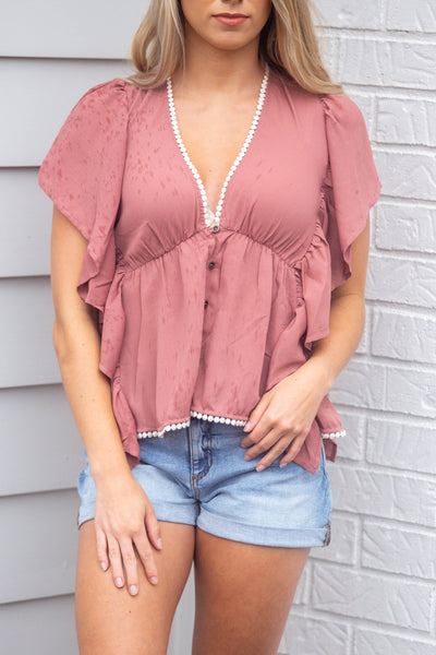 Summer Days-Solid Vneck Butterfly Sleeve Top