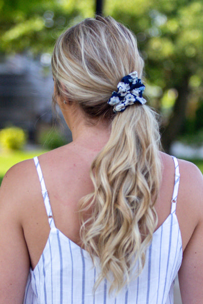 Flower Power- Navy Floral Scrunchie