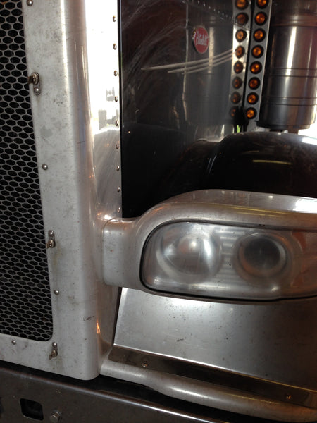 Aluminum Peterbilt Grill sanded and Polished