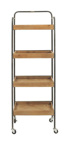 Metal 4-Tier Rack w/ Wood Shelves On Casters, Home Furnishings, Laura of Pembroke
