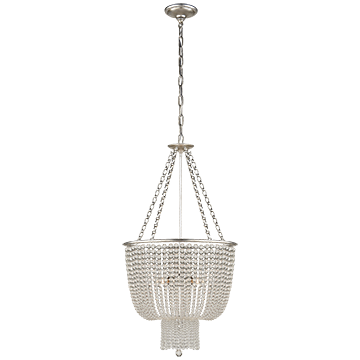 Chandelier in Burnished Silver Leaf with Clear Glass, Lighting, Laura of Pembroke