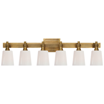 Bryant Six-Light Linear Bath Sconce in Hand-Rubbed Antique Brass with White Glass