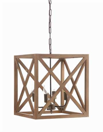Metal & Wood Square Chandelier, Lighting, Laura of Pembroke