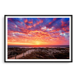 Sunset at Brighton Beach in Perth, Western Australia framed in black