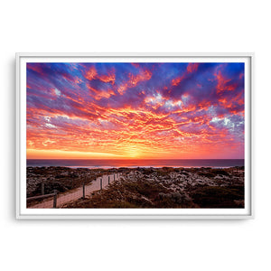 Sunset at Brighton Beach in Perth, Western Australia framed in white