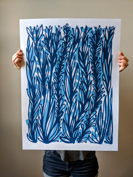 Blue Vines Print by Brainstorm