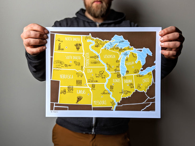 Midwest Map Print by Brainstorm