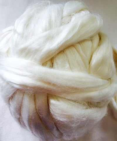 Undyed Natural Bamboo Fibre for Spinning and Wet Felting - 10grams