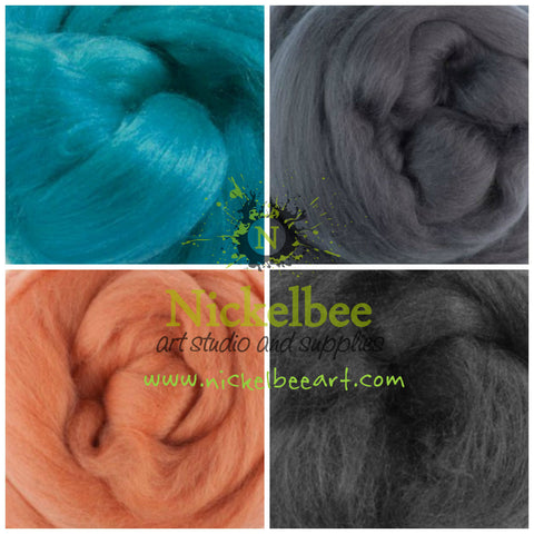 Sampler pack of Merino and Silk for Felters and Spinners