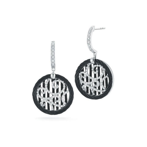ALOR Noir 18K White Gold & Black Cable Drop Earrings 03-52-0972-11