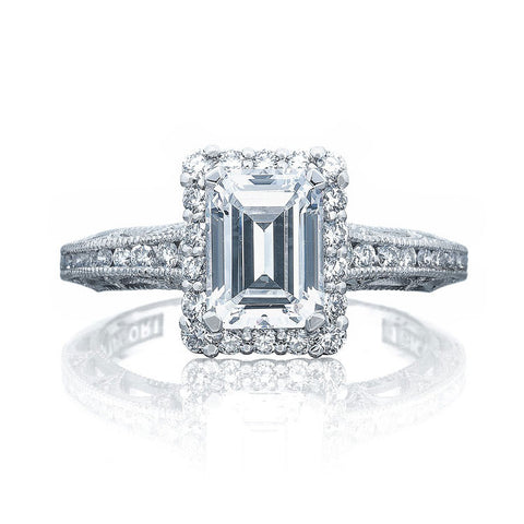Tacori Platinum 1/2 Way Emerald Cut Center Engagement Ring 2618EC75X55