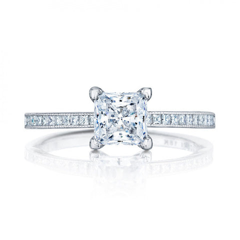 Tacori Platinum Diamond 1/2 Way Channel Set Princess Center Engagement Ring 45-15PR5