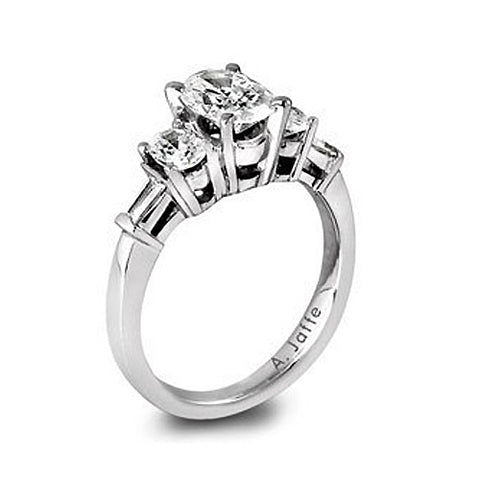 A.JAFFE 18K White Gold Three-Stone Diamond Engagement Ring ME1277