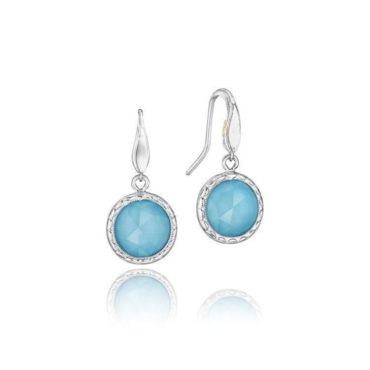 Tacori Island Rains Clear Quartz Over Neolite Turquoise Drop Earrings SE15505
