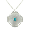 "Sterling Silver Hammered Disc with Wire Detail and Semiprecious Oval on 28"" Chain"