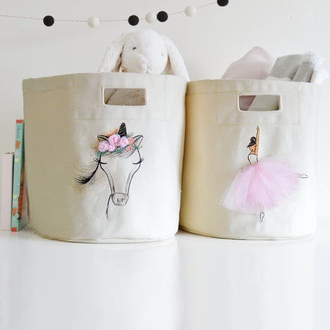 Set of 2 - Ballerina and Unicorn Storage Bins (handsewn details)