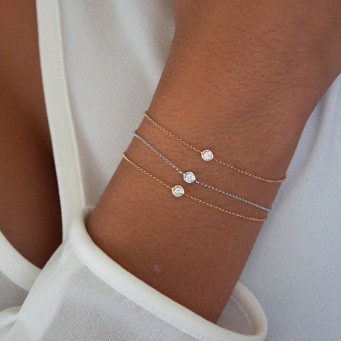 Diamond Solitaire Bracelet in 18k solid gold