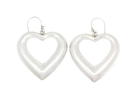 Silver Earrings Heart On Shepherd Hooks