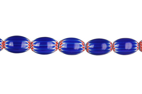 Chevron Glass Bead Rice (Blue)