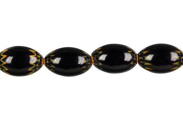 Chevron Glass Bead Rice (Black)