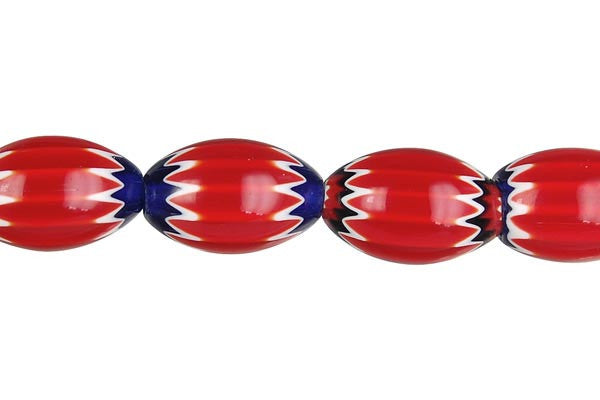 Chevron Glass Bead Rice (Red)