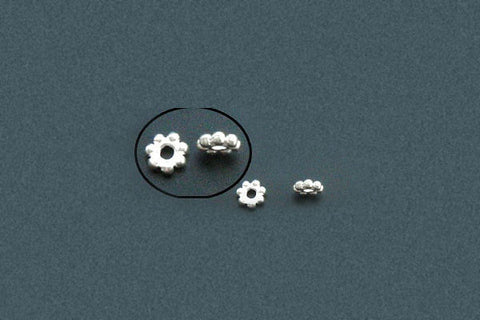 Sterling Silver Daisy Spacer, 2.0x6.0mm