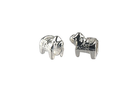 Metal Alloy Beads Pony (Silver) 13x11mm
