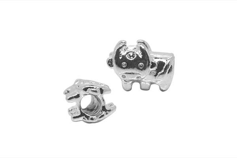 Metal Alloy Beads Cow w/Rhinestones (Silver-Plated), 10x15mm