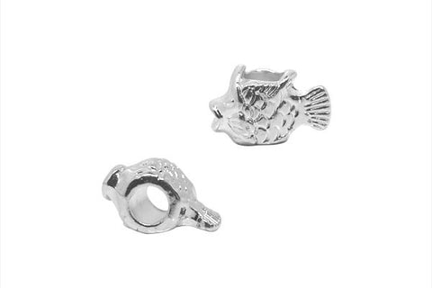 Metal Alloy Beads Gold Fish (Silver-Plated), 9.5x15mm