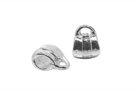 Metal Alloy Beads Hand Bag (Silver-Plated), 11x14mm