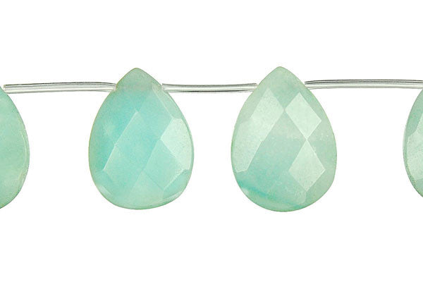 Amazonite Faceted Flat Briolette (Light) Beads