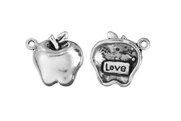Sterling Silver Apple - Love Charm, 15.0x15.0mm