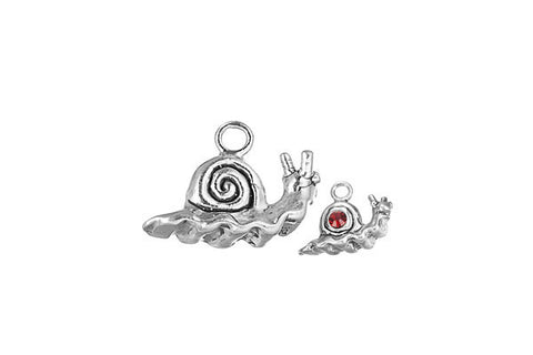 Sterling Silver Snail Charm, 12.0x17.0mm