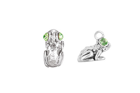 Sterling Silver Frog Charm, 12.0x7.0mm