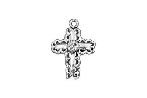 Sterling Silver Cross Charm, 20.0x15.0mm