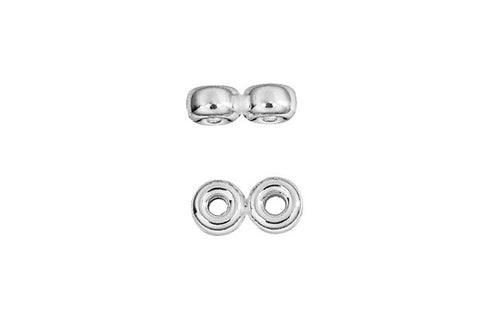 Sterling Silver Double Rondelle Spacer, 4.0mm