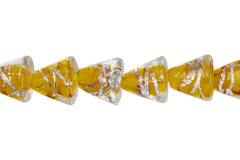Lines Foil Glass Cone (Yellow)