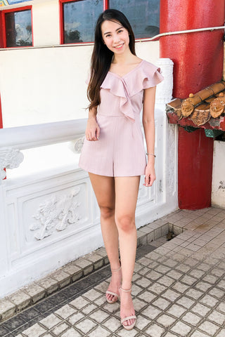Edgard Playsuit in Pink Pinstripes