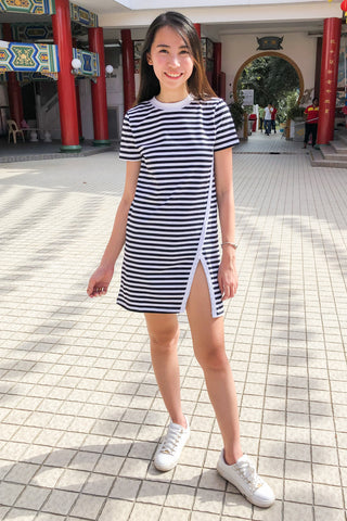Bede Shift Dress in Black Stripes