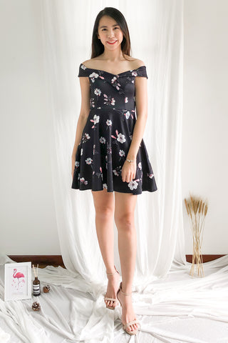 Afrodille Off Shoulder Floral Dress in Black