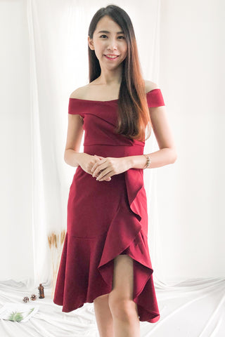 Kathryn Aysmmetrical Fish Tail Dress in Burgundy