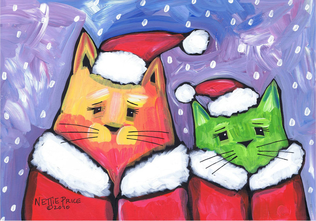 Christmas Cats with Coats Sparkling Art Print