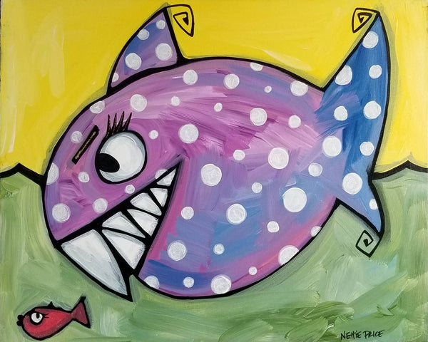 Hungry Shark Little Fish Original Acrylic Painting by Nettie Price