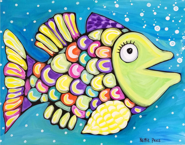 Palm Coast Fish 6 Original Acrylic Painting by Nettie Price
