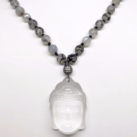 *LIMITED EDITION* Dragon Vein Agate Necklace with Clear Quartz Buddha