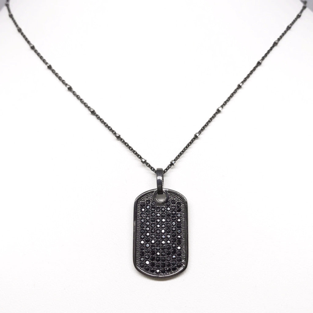 Black CZ Dog Tag on Oxidized Sterling Silver Necklace