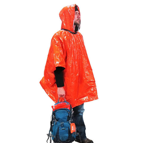 AMK SOL Emergency Poncho in use